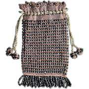 Antique Victorian Beaded Handbag, Late 1800's
