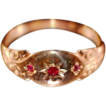 ca 1927 Lovely 9K Rose Gold Ruby Gypsy Ring Fully Hallmarked