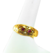 ca 1863 Fully Hallmarked 15K Rose Gold Ruby Freshwater Pearl Gypsy Ring