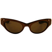 Dreamy and Creamy Mocha Bronzy Rhinestone Glam Sunglasses
