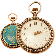 Ladies Antique 14K Rose Gold Over Sterling Pocket Watch Guilloche Enameling and Fleur de Lis D