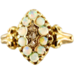 Antique Hallmarked 18K Yellow Gold and Opal and Diamond Ring - Mid 19th Century