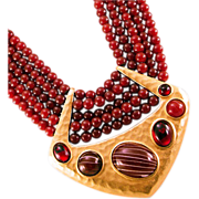Dramatic Yves Saint Laurent Bib Necklace with Synthetic Carnelian and Faux Banded Agate