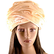 Vintage Christian Dior Cream Pleated Velvet Chapeaux Turban