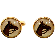 Highly Collectible Essex Crystal Cuff Links with Classic Horse Motif