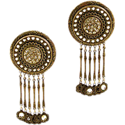 Fabulous Vintage Intricate and Bold Clip Earrings with Sparkling Rhinestones