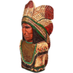 "Vintage Wooden Hand Carved Cigar Store Indian Bust - 25"" Tall"