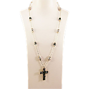 OOAK Davison Sterling, Peacock Tahitian Pearls,  Inlaid Sterling Cross Necklace