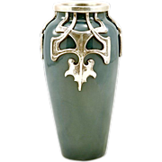 Antique Art Nouveau Pewter on Ceramic Porcelain Vase