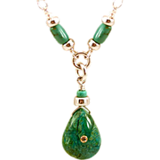OOAK Davison Turquoise, Chrysocolla and 18K Inset Sunstone Pendant Necklace
