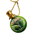 Pretty and Feminine Enameled Chatelaine Green Glass Perfume Bottle