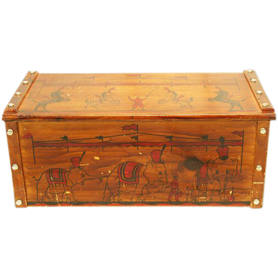 Fun ca 1950's Wooden Toy Box / Chest with Circus Decoration
