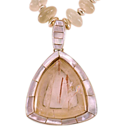 Dreamy OOAK Davison Moonstone Necklace Rutilated Quartz and Inlaid MOP Pendant