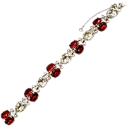 Stunning Eisenberg &quot;Original&quot; Red Chaton & Rhinestone Bracelet