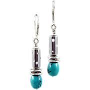 OOAK Davison Sterling Silver & Green Turquoise Earrings