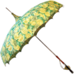 Vintage ca. 1940 Pagoda-Style Parasol with Springtime Greens and Yellows