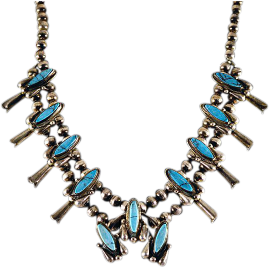 ca 60's Navajo Squash Blossom Turquoise and Silver Necklace