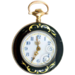14K Gold and Guilloche Enameled Helbros Ladies' Pocket Watch with 12K GF Chain