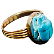 Rare Vintage 18 Karat Gold English Hallmarked Porcelain Scarab Ring with Hieroglyphics