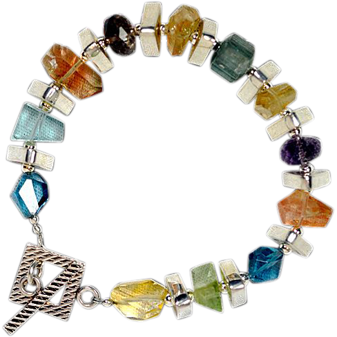OOAK Davison Loaded with Gemstones Sterling Silver Bracelet