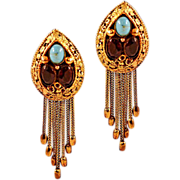 Unbelievable Vendome Gold-Tone Fringe and Rhinestone Earrings