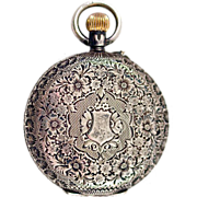 ca 1912 Sterling Silver Porcelain Dial Women's Swiss Pocket Watch Hunter Case
