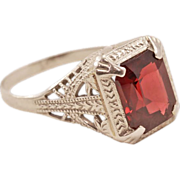 Vintage Ostby Barton 14 Karat White Gold Ring with Red Garnet