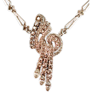 ca 1930's-40's Engel Bros Sterling Silver and Rhinestone Necklace