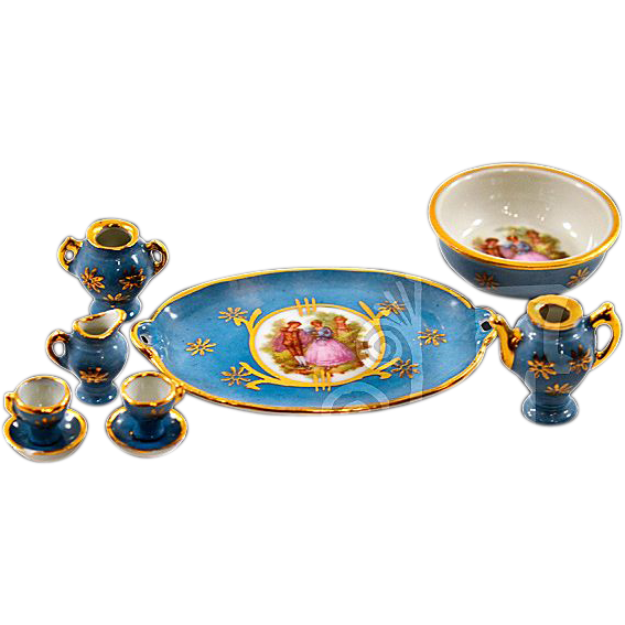 9-piece Limoges Fragonard Transferware Porcelain Miniature Tea Set
