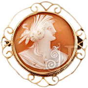 Antique Cameo of Mythological Woman set in 9CT Gold Frame