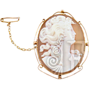 Antique 9K Rose Gold Victorian Woman Cameo with Safety Chain