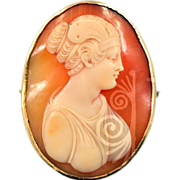 14K Antique Cameo carved Conch Shell Beautiful Image