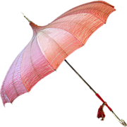 ca. 30's 40's Salmon-Colored Pagoda-Style Umbrella