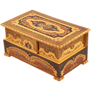 Intricate Inlay Wooden Vintage Italian Music Box - With Ballerinas!!