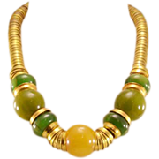 Highly-Collectible, Super-Stylish Vintage Bakelite and Brass Necklace