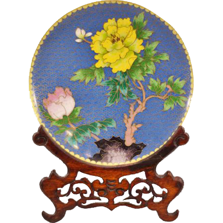 Beautiful Vintage Cloisonn� Plate With Traditional Japanese Decoration and Wooden Stand