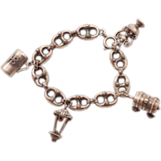 Gorgeous Etruscan Style .800 Silver Vintage Charm Bracelet