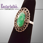 Gorgeous Vintage .935 Silver Ring With  Green Nephrite and Marcasite