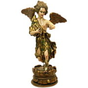 Masterpiece Italian Vintage Carved Wood and Plaster Angel LARGE Statue - Italian
