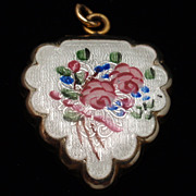 Heart Locket Scalloped Edge Flowers Enamel Vintage