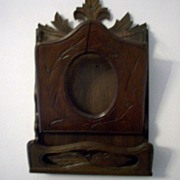 SALE PENDING Victorian, black walnut, wall hanging magazine rack   Ca 1890's - Special Sale ..