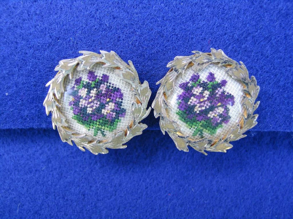 Vintage and Unique Purple Petit Point Clip Earrings
