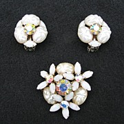 Vintage Imitation Pearl Pin and Earring Set