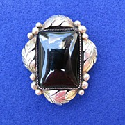 REDUCED Vintage Sterling Silver Black Onyx Pin Pendant