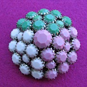 SOLD Vintage SCHRAGER Tri-Color Pink Green White Pin