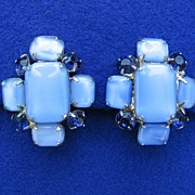 Vintage Baby Blue Opaque Earrings