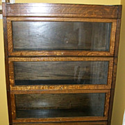 SALE Oak Barrister Bookcase Mission Style Quarter Sawn Four Section w/ Drawer