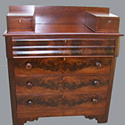 SALE Empire Chest of Drawers Flame Mahogany and Cherry Curved Top Drawer