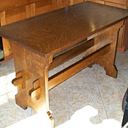 REDUCED Mission Style Arts and Crafts Oak Library Table Quarter Sawn Tiger Oak