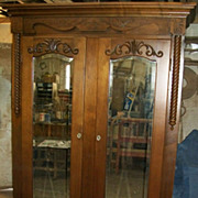 SALE Victorian Walnut Armoire with Beveled Glass Mirrors Ornate